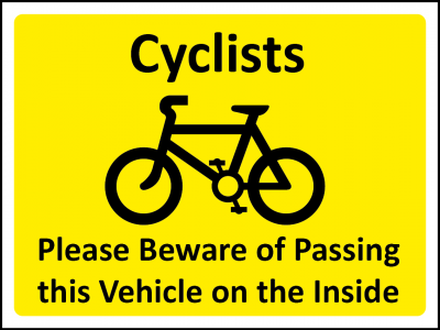 Cyclists beware of passing this vehicle sign