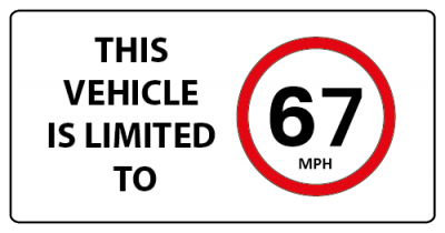 This vehicle is limited to 67mph